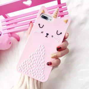 قاب-موبایل-آیفون-گربه-تکشاخ-صورتی