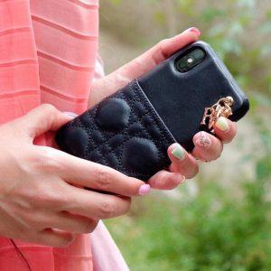 قاب-موبایل-آیفون-چرم-بالشت-مشکی