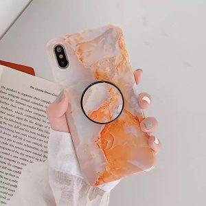 قاب-موبایل-آیفون-سنگ-ماربل-نارنجی-پاپ-سوکت