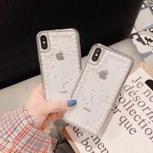 قاب-موبایل-آیفون-طرح-مروارید-شفاف