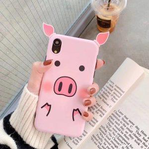 قاب-موبایل-آیفون-طرح-خوک-صورتی