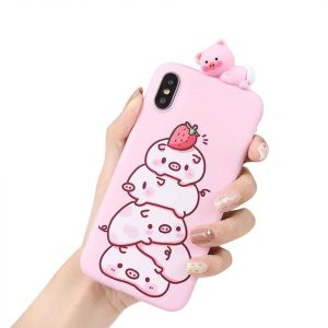قاب-موبایل-آیفون-طرح-خوک-توت-فرنگی
