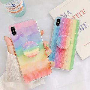 قاب-موبایل-آیفون-طرح-رنگین-کمان-چند-رنگ-پاپ-سوکت