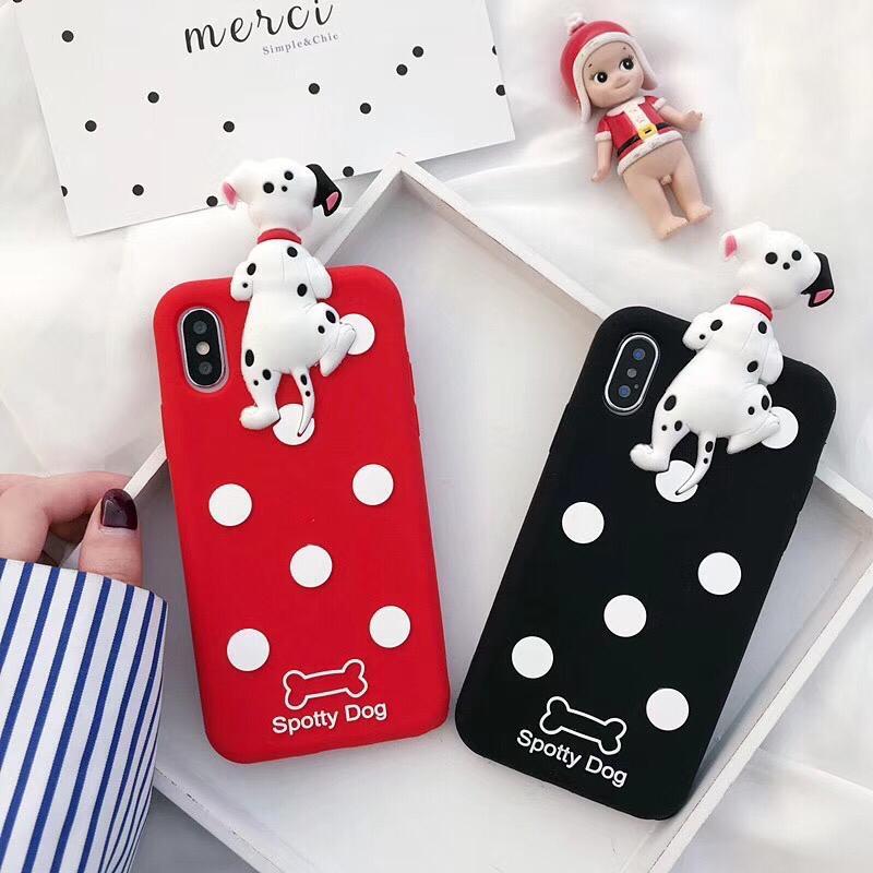 قاب-موبایل-آیفون-۱۰۱-سگ-خالدار-قرمز-مشکی
