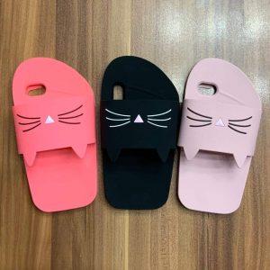 قاب-موبایل-آیفون-طرح-پاپوش-دمپایی-برجسته-گربه-سیلیکون