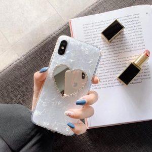 قاب موبایل-آیفون قلب-آینه-ای-نگین-دار-سفید