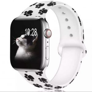 بند-اپل-واچ-رد-پای-گربه-سفید-مشکی