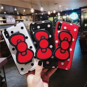قاب-موبایل-آیفون-میکی-پاپیون-پلاستیک-مشکی-قرمز