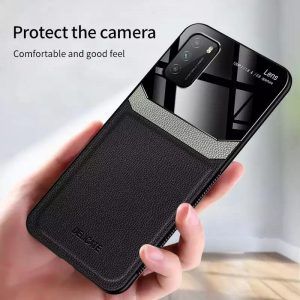 قاب-موبایل-سامسونگ-چرمی-شیشه-محافظ-لنز-مشکی