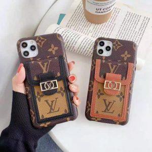 قاب-موبایل-آیفون-چرمی-لویی-ویتون-قهوه-ای-هولدر-نگه-دارنده-کارت-قابتو